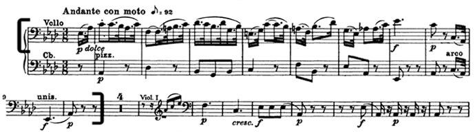 Бетховен. Симфония №5. Вторая часть, Andante con moto, отрывок 1