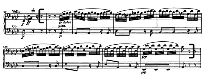 Бетховен. Симфония №5. Вторая часть, Andante con moto, отрывок 3
