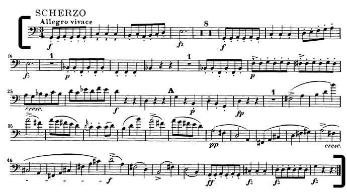 Шуберт. 9 симфония. 3 часть, Скерцо: такты 1-56